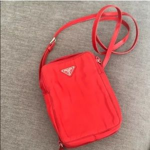Prada Red Nylon Vertical Crossbody 100% authentic